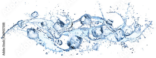Fotografia Ice Cubes In Splashing - Cold And Refreshment