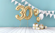 canvas print picture Happy 30th birthday party celebration balloon, bunting and gift box. 3D Render