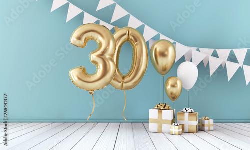 Foto auf Leinwand Texturen Happy 30th birthday party celebration balloon, bunting and gift box. 3D Render
