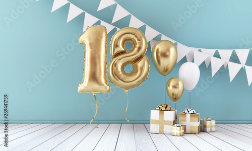 Photographie  Happy 18th birthday party celebration balloon, bunting and gift box