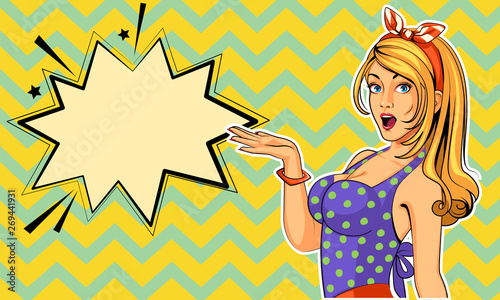 Plakaty Pop Art  beautiful-pin-up-model-with-excited-expressions-vector-illustration-in-pop-art-style