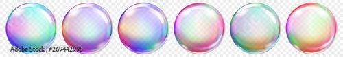Αφίσα Set of translucent colored soap bubbles on transparent background