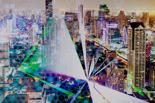 Modern City With Skyscrapers And Laser Lights Futuristic City Background Buy This Stock Photo And Explore Similar Images At Adobe Stock Adobe Stock