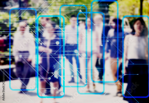 Fotografía  machine learning analytics - identify person technology  - Artificial intelligen