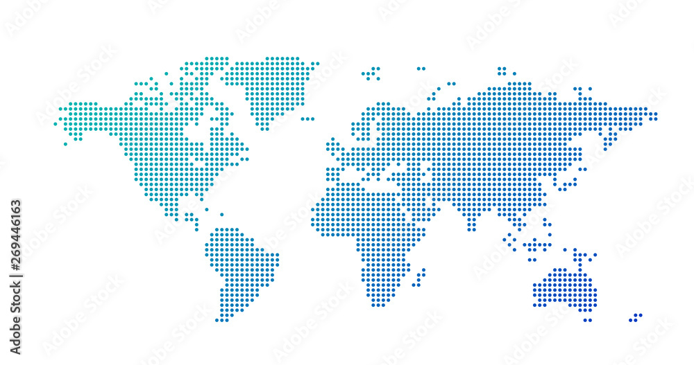 Fototapety, obrazy: World map dotted style, vector illustration isolated on white background.