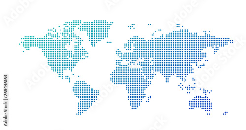 Fotografía  World map dotted style, vector illustration isolated on white background