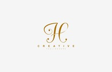 Initial H Letter Linked Beauty Script Signature Logotype