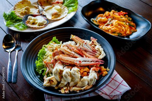 Thai food - Steamed crab meat from blue crab - halal food in