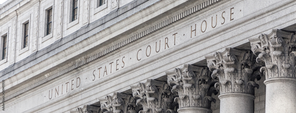 Fototapeta United States Court House. Courthouse facade with columns, lower Manhattan New York USA