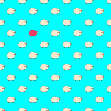 Sheep Pattern, Vector Illustration Of Cute Sheeps, Cartoon Style..Seamless Pattern. Blue Backgraund.and One Pink Sheep