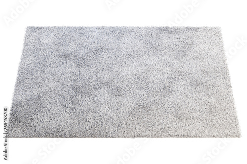 Stampa su Tela Modern light gray rug with high pile. 3d render