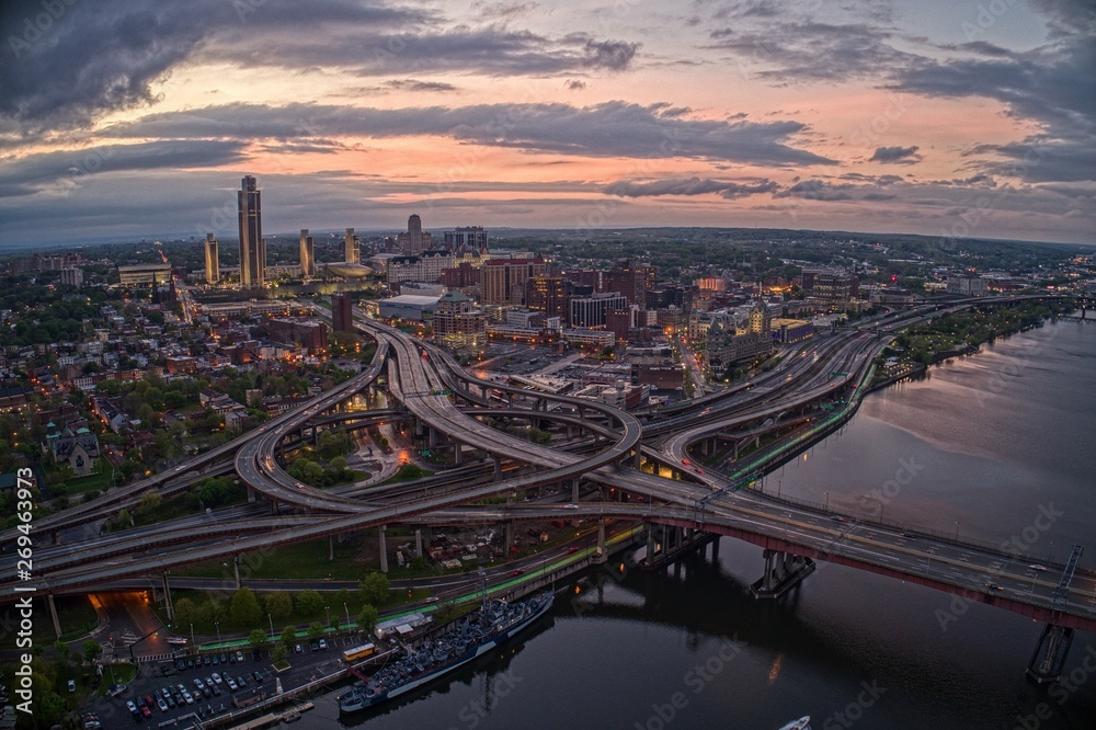 Fototapety, obrazy: Aerial View of the City Albany, Capitol of the State of New York