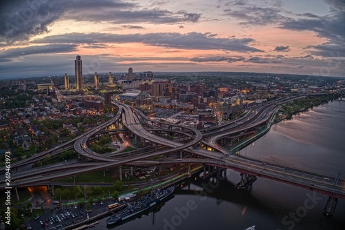 Fotografie, Tablou Aerial View of the City Albany, Capitol of the State of New York