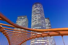 Tel Aviv Azrieli Center Skyline Israel Twilight Night City Skyscrapers Modern Architecture