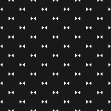 Bow Tie Pattern. Simple Minimalist Vector Seamless Texture With Small Triangles. Abstract Monochrome Geometric Ornament. Hipster Fashion Cute Funky Background. Stylish Dark Design For Decor, Covers