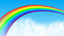 Rainbow On Cloud Sky Background. Vector Illustration.