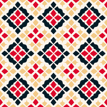 Vector Geometric Seamless Pattern. Folk Ornament. Red, Black, Beige And White