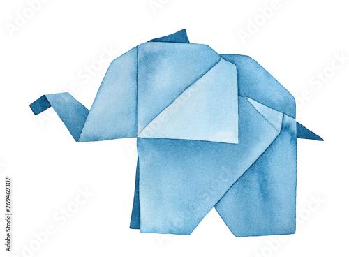 Walking Origami Elephant watercolour illustration Wallpaper Mural