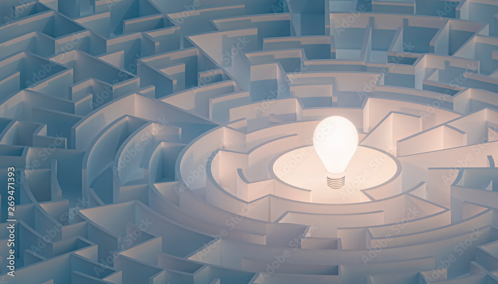Fototapety, obrazy: Circular maze or labyrinth with light bulb in its center. Puzzle, riddle, intelligence, thinking, solution, IQ concepts. 3d render illustration.