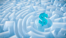 Circular Maze Or Labyrinth With Dollar Symbol Or Sign In Its Center. 3d Render Illustration. Business And Finance Concepts. How To Earn Money Or Way To Get Rich Concept.