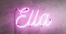 Neon Sign Spelling The Girls Name Ella, This Realistic Sign Starts When The Sign Is Off Then It Turns On With Amazing Flashing Flickering Effects, Then After 30 Seconds It Flashes On And Off