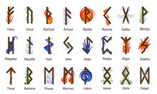 A Large Set Of Scandinavian Runes, Decorated According To The Elements Of Fire, Water, Earth, Air And Time