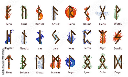 A large set of Scandinavian runes, decorated according to the elements of Fire, Canvas Print