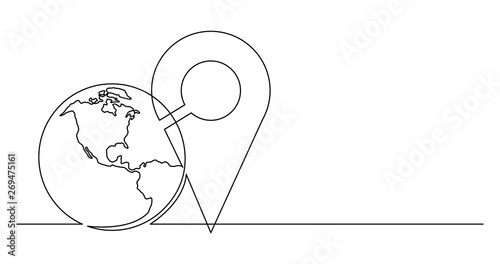 continuous line drawing of world planet with location icon