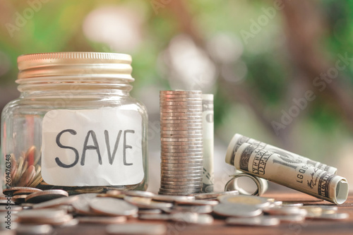 Photo money stack step up growing growth saving money with icons about business strategy on image, ideas about saving money for future use - business success concept