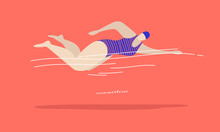 Fast Swimming Young Woman In A Striped Swimsuit On A Coral Background. Types Of Swimming-crawl On The Chest. Vector Illustration In Trendy Flat Style.