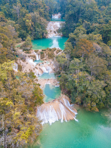 Aerial view of the emerald waterfalls at Roberto Barrios in Chiapas, Mexico