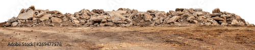Isolated views of concrete debris piles on the ground. Fototapeta