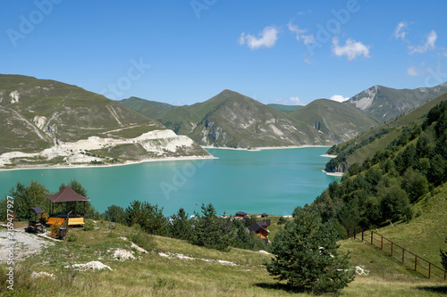Aluminium Prints Panoramic view to the landscape with Lake Kezenoyam in Caucasus Mountains in Chechnya, Russia.