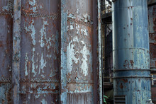Heavily Rusted Pipes And Tubes, Peeling Paint Industrial Background, Horizontal Aspect