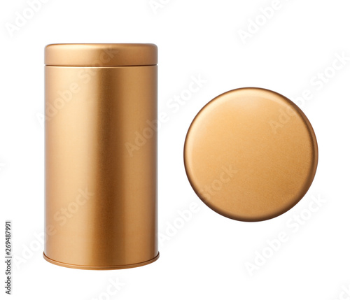 Cuadros en Lienzo  The top view of golden metal tube and golden metal tube, Isolated on white background