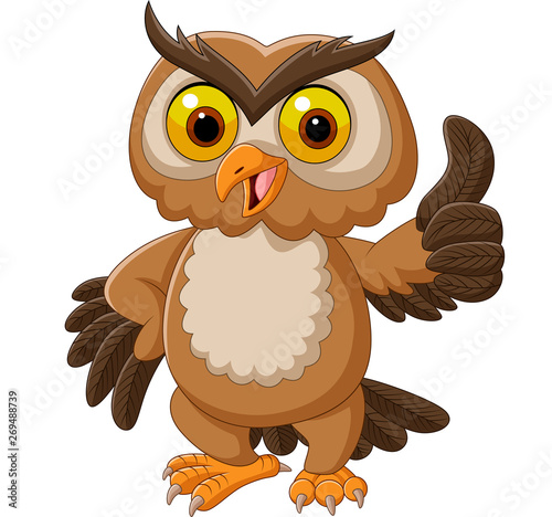 Photo Cartoon owl giving thumbs up