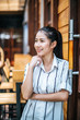 Portrait of beautiful asian woman relax at cafe