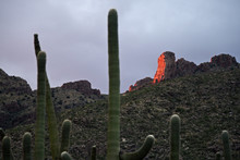 Last Beams Of Sunlight Reflecting Off The Face Of A Rock, Catalina Mountains, Tucson, Arizona, USA