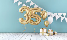 Happy 35th Birthday Party Celebration Balloon, Bunting And Gift Box. 3D Render