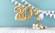 canvas print picture Happy 20th birthday party celebration balloon, bunting and gift box. 3D Render