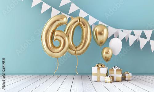 Pinturas sobre lienzo  Happy 60th birthday party celebration balloon, bunting and gift box