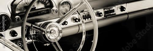 Deurstickers Vintage cars Interior of a classic American car