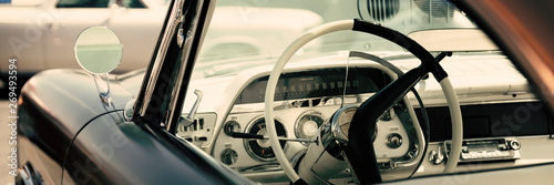 Foto op Canvas Vintage cars Interior of a classic American car