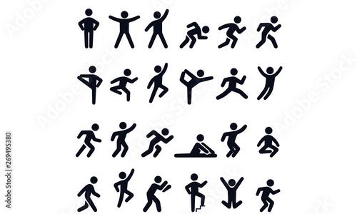 Obraz Active lifestyle people and vitality vector icon set - fototapety do salonu
