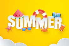 Hello Summer With Decoration Origami On The Sky Yellow Background. Paper Art And Craft Style. Vector Illustration Of Life Ring, Camera, Watermelon, Sunglasses, Orange Juice.