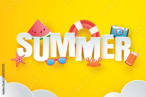 Poster Retro sign Hello summer with decoration origami on the sky yellow background. Paper art and craft style. Vector illustration of life ring, camera, watermelon, sunglasses, orange juice.