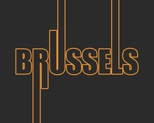 Brussels City Name In Geometry Style Design. Creative Vintage Typography Poster Concept.