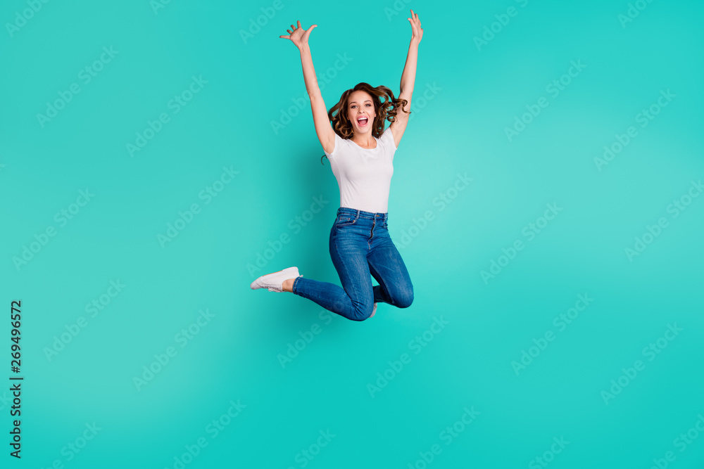 Fototapety, obrazy: Full length body size view of her she nice-looking attractive lovely cool fascinating cheerful cheery wavy-haired lady having fun time isolated on bright vivid shine blue background