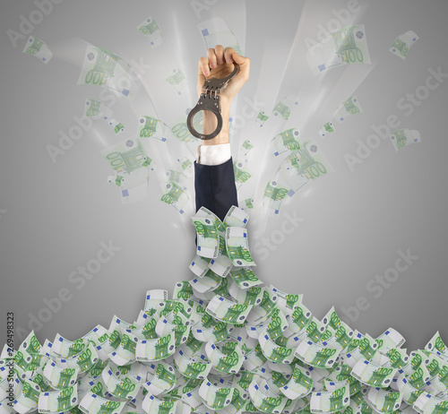 Cadres-photo bureau Montagne Human hand buried in euro pile and trying to break out