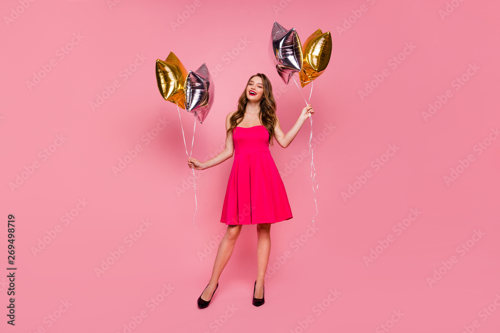 Full length body size photo beautiful amazing she her lady graduation day weekend hand arm hold star shape golden balloons gift present wear colorful formal-wear dress isolated pink bright background